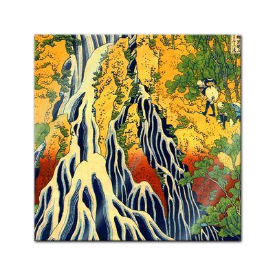 Glasbild Katsushika Hokusai - Alte Meister - Pilger beim Kirifuri Wasserfall  – Bild 1