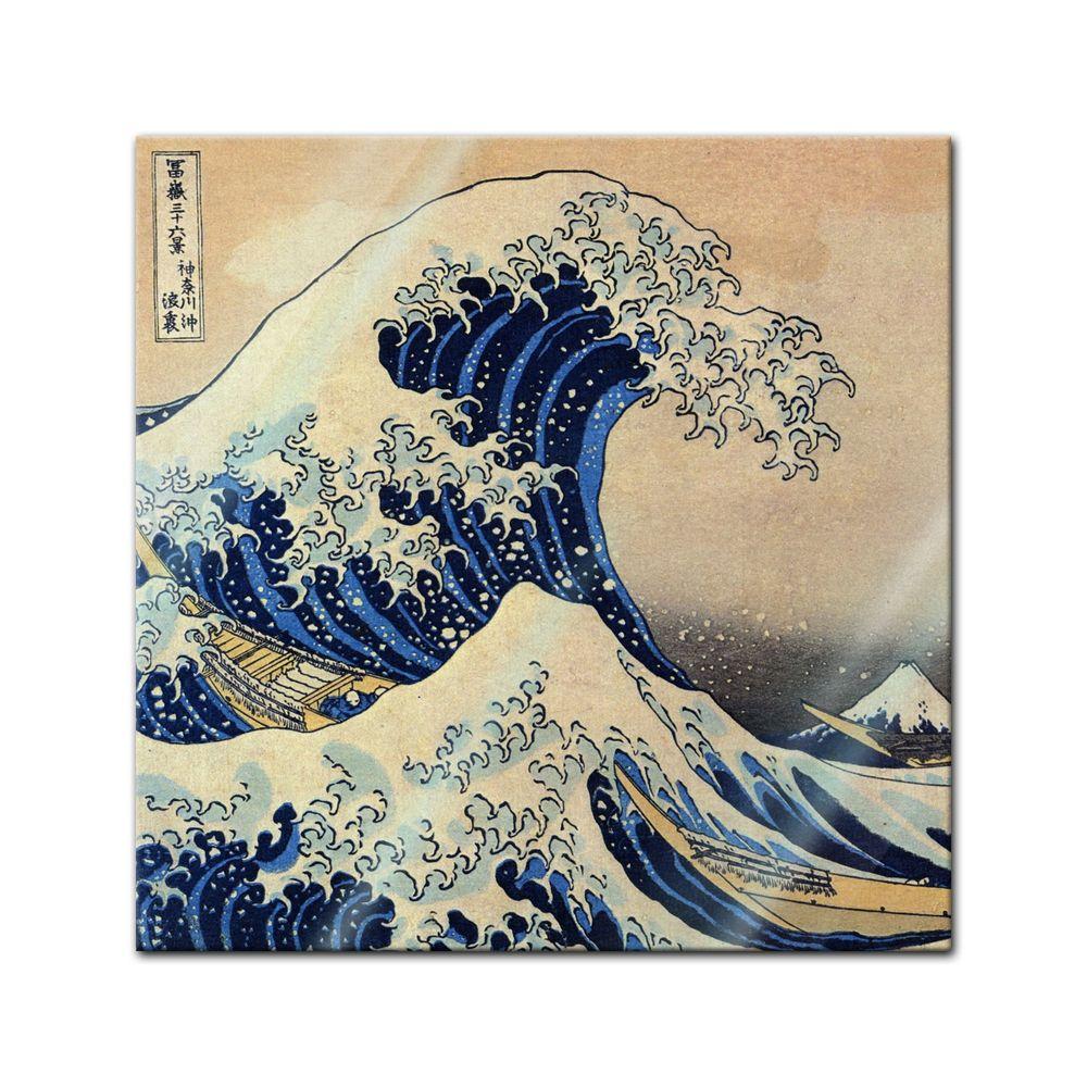 Glasbild Katsushika Hokusai Alte Meister Die Grosse Welle Vor