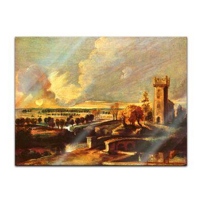 Glasbild Peter Paul Rubens - Alte Meister - Landschaft mit dem Turm des Schlosses Steen  – Bild 2