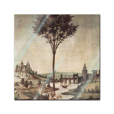 Glasbild Sandro Botticelli - Alte Meister - Landschaft - Detail Verkündigung  – Bild 1