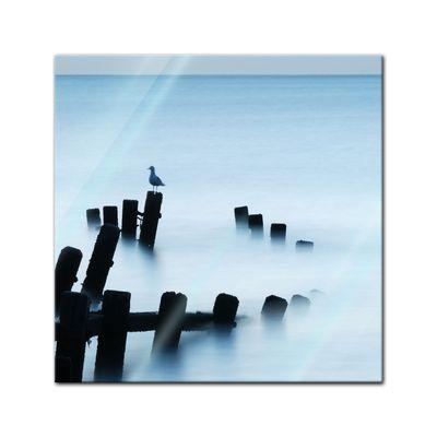 Glasbild - Moonlit Sea, Norfolk – Bild 1