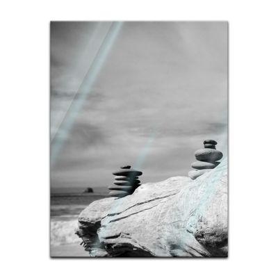 Glasbild - Zen Steine - schwarz weiss – Bild 5