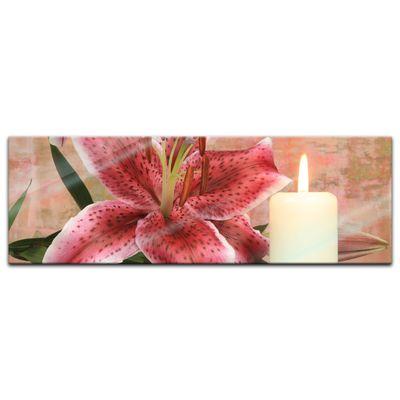 Glasbild - Lilienblüte mit Kerze – Bild 6