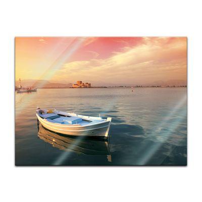 Glasbild - Traditionelles griechisches Fischerboot – Bild 2