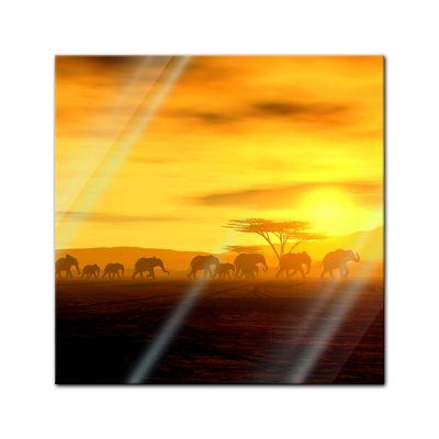 Glasbild - African Spirit - Die Wanderung der Elefanten – Bild 1