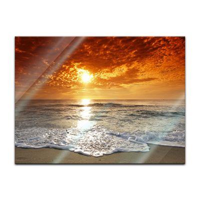Glasbild - Sonnenuntergang in Korsika – Bild 2