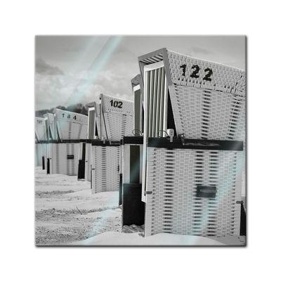 Glasbild - Strandkörbe - schwarz weiss – Bild 1