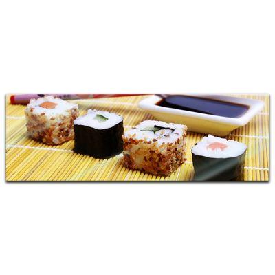 Glasbild - Sushi mit Stäbchen und Sojasosse – Bild 6