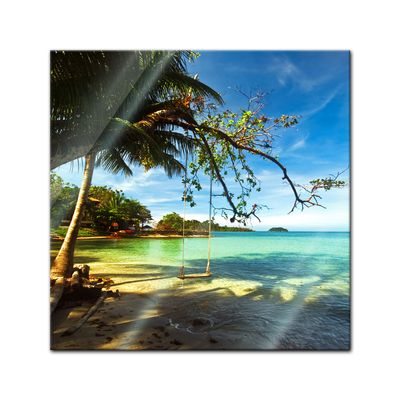 Glasbild - Tropical beach under blue sky - Thailand – Bild 1