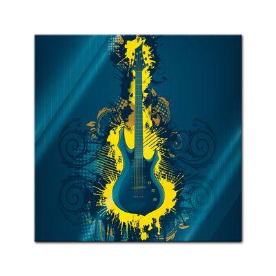 Glasbild - E-Gitarre Illustration - gelb – Bild 1