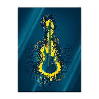 Glasbild - E-Gitarre Illustration - gelb – Bild 5