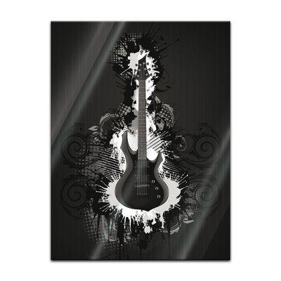 Glasbild - E-Gitarre Illustration - sw – Bild 5