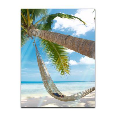Glasbild - Palme - Hängematte – Bild 3