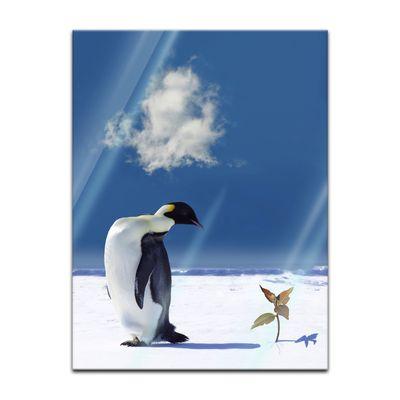 Glasbild - Pinguin mit Blume – Bild 5