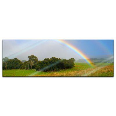 Glasbild - Regenbogen über Wiese – Bild 6