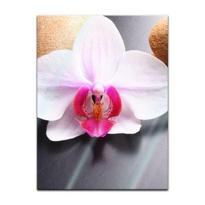 Glasbild - Zen Steine und Orchidee – Bild 3