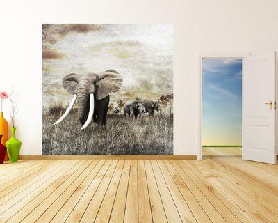 Fototapete - Elefanten Grunge – Bild 1