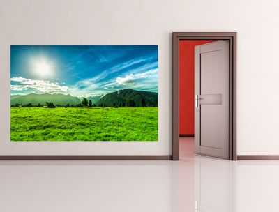 Fototapete - Grüne Landschaft in Neuseeland – Bild 1