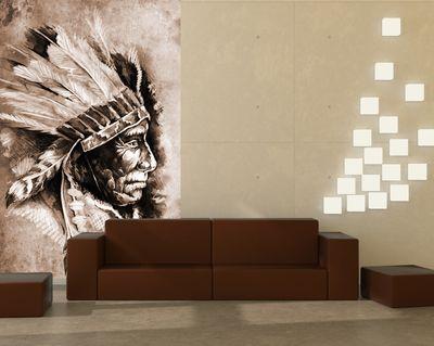 Fototapete - Indianer III, Tattoo Art (Sitting Bull) – Bild 3