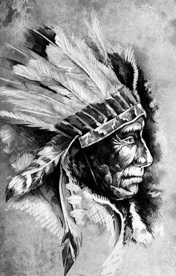 Fototapete - Indianer III, Tattoo Art (Sitting Bull) – Bild 6
