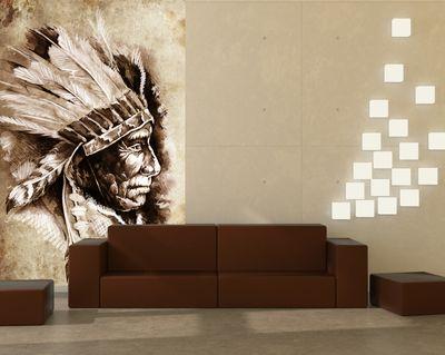 Fototapete - Indianer III, Tattoo Art (Sitting Bull) – Bild 1