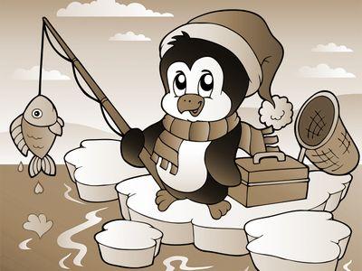 Fototapete - Kinderbild fischender Pinguin – Bild 4