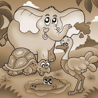 Fototapete - Kinderbild Tropische Tiere – Bild 4