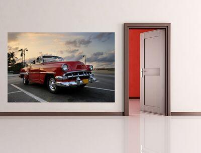 Fototapete - Roter Oldtimer - Havanna – Bild 1