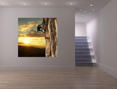 Fototapete - Bergsteiger im Sonnenuntergang – Bild 1