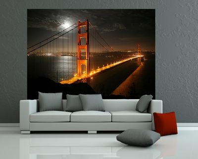 Fototapete - Golden Gate Brücke in der Nacht (Vollmond) – Bild 1