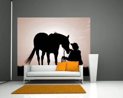 Fototapete - Pferd mit Cowboy – Bild 3