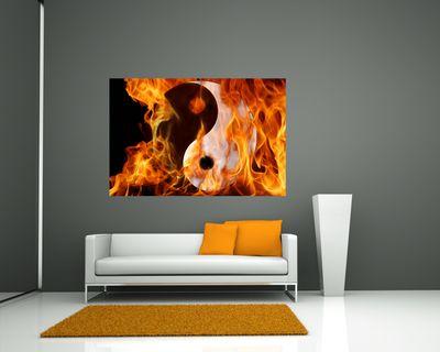 Fototapete - Ying Yang Feuer – Bild 1