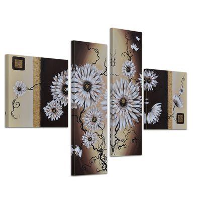 Wandbild Blumen M4 100x70cm 4 teilig P202 – Bild 1