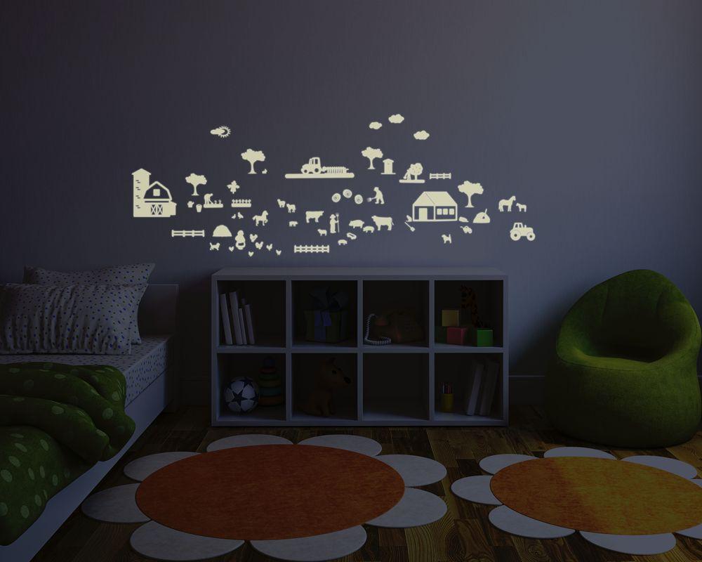 leuchtfolie bauernhof fluoreszierend und nachtleuchtend wanddeko leuchtende folie. Black Bedroom Furniture Sets. Home Design Ideas
