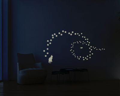 Leuchtfolie Katzentatzen - Fluoreszierend und Nachtleuchtend – Bild 1