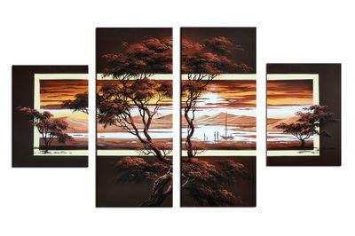 Afrikanische Kunst M1 - Leinwandbild 4 teilig 120x70cm Handgemalt – Bild 2