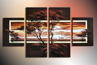 Afrikanische Kunst M1 - Leinwandbild 4 teilig 120x70cm Handgemalt – Bild 3