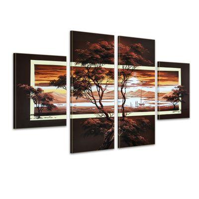 Afrikanische Kunst M1 - Leinwandbild 4 teilig 120x70cm Handgemalt – Bild 1