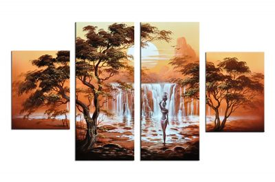 Afrikanische Kunst M2 - Leinwandbild 4 teilig 120x70cm Handgemalt – Bild 2