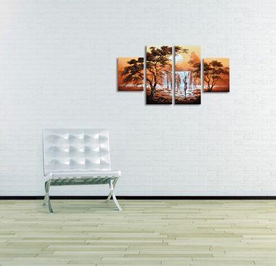 Afrikanische Kunst M2 - Leinwandbild 4 teilig 120x70cm Handgemalt – Bild 4
