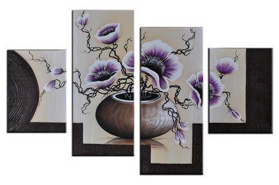 Blumen M14 - Leinwandbild 4 teilig 120x80cm Handgemalt – Bild 2