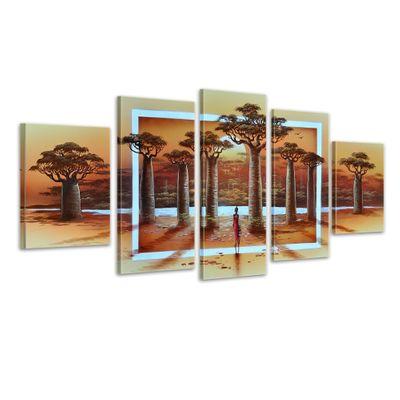 SALE Afrikanisches Leben - Leinwandbild 5 teilig 150x70cm Handgemalt