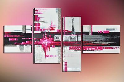 Abstrakte Kunst M3 - Leinwandbild 4 teilig 120x70cm Handgemalt – Bild 3