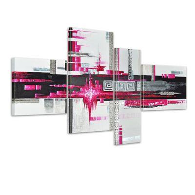 Abstrakte Kunst M3 - Leinwandbild 4 teilig 120x70cm Handgemalt – Bild 1