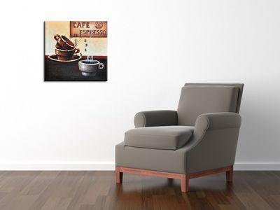 Wanduhr Leinwand Cafe Espresso D 03 – Bild 3