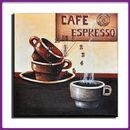 Wanduhr Leinwand Cafe Espresso D 03