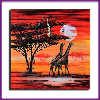 Wanduhr Leinwand Giraffen  D 05 – Bild 1
