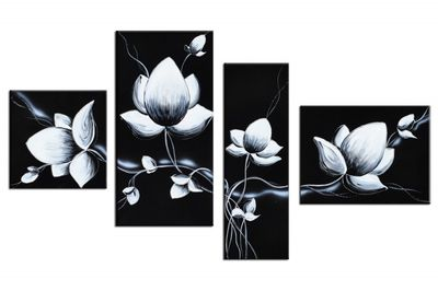 SALE Blume M12 - Leinwandbild 4 teilig 120x70cm Handgemalt – Bild 2