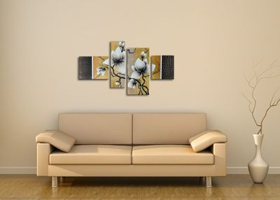 Blume M10 - Leinwandbild 4 teilig 120x70cm Handgemalt – Bild 4