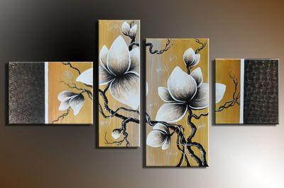 SALE Blume M10 - Leinwandbild 4 teilig 120x70cm Handgemalt – Bild 3